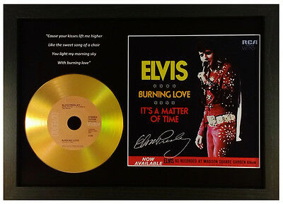 Elvis Presley 'burning Love' Signed Gold Cd Disc Collectable Memorabilia Gift