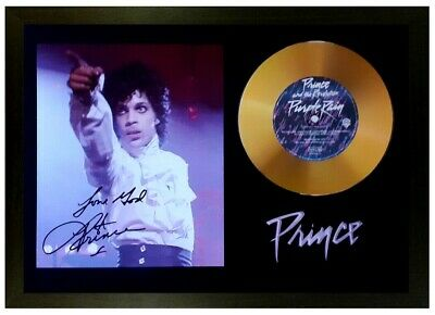 Prince Signed Photo And 'purple Rain' Gold Disc Collectable Memorabilia Gift /02
