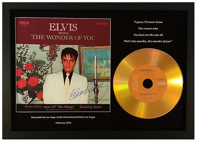 Elvis Presley 'the Wonder Of You' Signed Gold Disc Collectable Memorabilia Gift