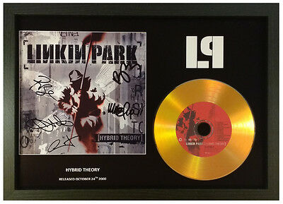 Linkin Park -Hybrid Theory - Signed Gold Cd Disc Display Collectable Memorabilia