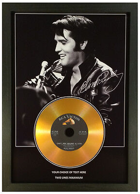 Elvis Presley *Add Your Personal Message* Signed Gold Disc Memorabilia Gift Mk2