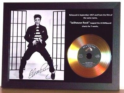 Elvis Presley 'jailhouse Rock' Signed Gold Disc Collectable Memorabilia Gift /01
