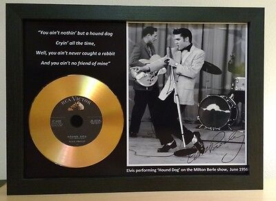 Elvis Presley 'hound Dog' Signed Photo With Gold Disc Memorabilia Gift