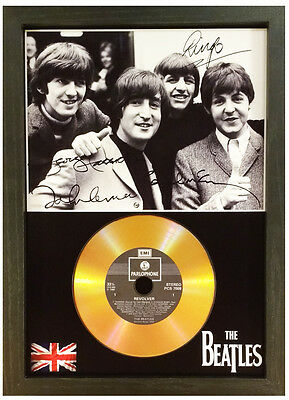 The Beatles - Signed Photo With Choice Of Gold Cd Disc Collectable Gift /01