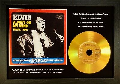Elvis Presley 'Always On My Mind' Signed Gold Disc Collectable Memorabilia Gift