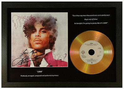 Prince '1999'  Signed Photograph Gold Cd Disc Display Collectable Memorabilia