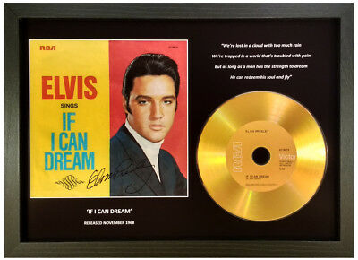 Elvis Presley 'if I Can Dream' Signed Gold Cd Disc Collectable Memorabilia