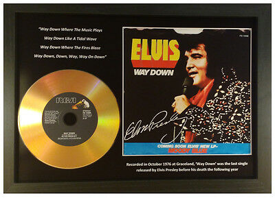 Elvis Presley 'way Down' Signed Photo Gold Disc Collectable Memorabilia Gift