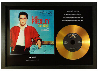 Elvis Presley 'one Night' Signed Photo Gold Disc Collectable Memorabilia Gift