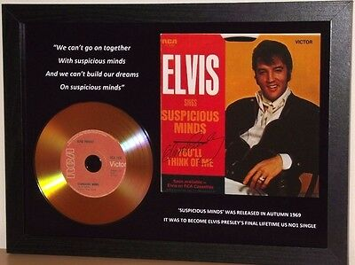Elvis Presley 'suspicious Minds' Signed Gold Disc Collectable Memorabilia Gift
