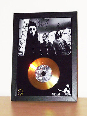 Nirvana Signed Photo Display With Gold Cd Disc Collectable Memorabilia