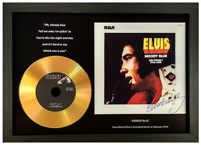 Elvis Presley 'moody Blue' Signed Photo Gold Cd Disc Collectable Memorabilia