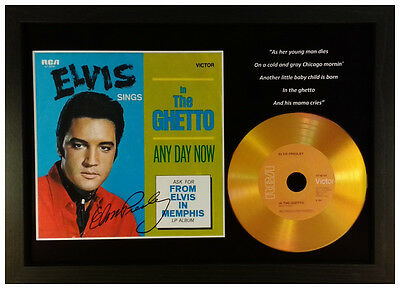 Elvis Presley 'in The Ghetto' Signed Photo Gold Cd Disc Collectable Memorabilia