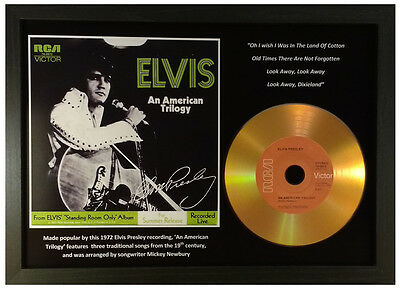 Elvis Presley 'an American Trilogy' Signed Gold Cd Disc Collectable Memorabilia