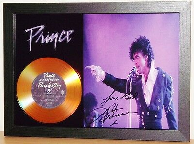 Prince 'purple Rain' Signed Photo With Gold Cd Disc Collectable Memorabilia Mk5