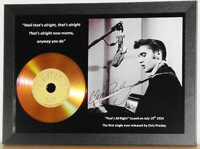 Elvis Presley 'that's All Right' Signed Gold Cd Disc Collectable Memorabilia