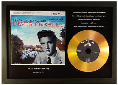 Elvis Presley 'Peace In The Valley' Signed Gold Cd Disc Collectable Memorabilia