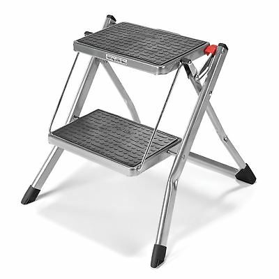 Polder Mini 2-Step Stool Ladder without Rail, Non-Slip Rubber Pads & Feet Silver