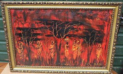 Large Gilt Framed Oil Painting On Canvas Of People In Landscape Signed