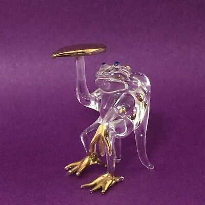Hand Blown Glass Clear Frog sitting on chair Animal Miniature Figurine Amphibian