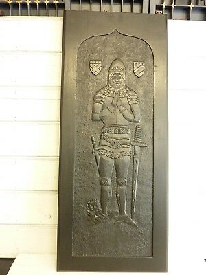 Antique hand carved oak panel, vintage blackened oak panel, knight in armour