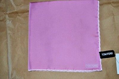 $145 NWOT TOM FORD Pink White hand rolled men's silk pocket square handkerchief