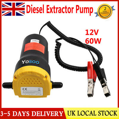 Mini 12V 60W Electric Car Diesel Oil Transfer Extractor Pump Quick&Clean Suction