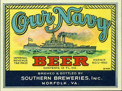 Southern Brewing Our Navy Beer Label T Shirt Norfolk Va  Sizes Small-Xxxlarge (F