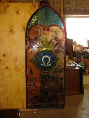 Antique Leaded Stained Glass Church Window - OMEGA - Arch Top - SEE PHOTOS