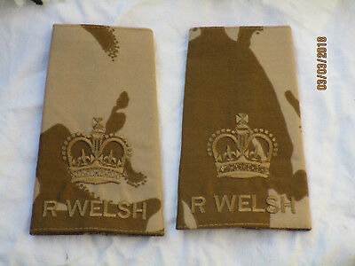 Shoulder Marks: WARRANT OFFICER 2, CSM , Royal Welsh, Desert, Pair, r. Welsh
