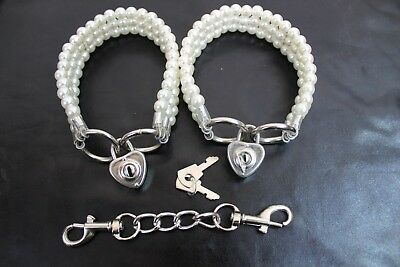 Classy Pearl  Bondage Ankle Cuff restraint high tensile steel  With heart locks
