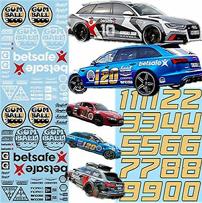 Audi Gumball 3000 Rallye Decals Street Racing 1:43 Decal Abziehbilder