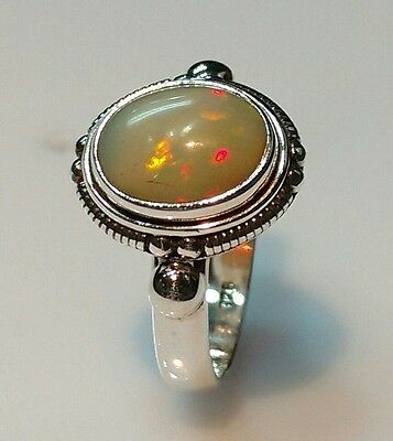 925 STERLING SOLID SILVER 7 gm RING SIZE 7.5 NATURAL FIRE OPAL NATURAL 10X12 MM