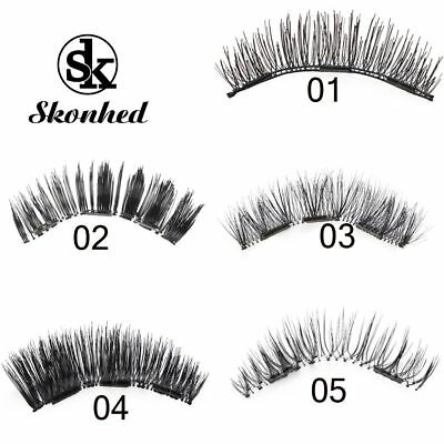 SKONHED 4 Pcs Lashes/Set Main Fibre De Soie Thick Long Faux Cils Triple Aimant