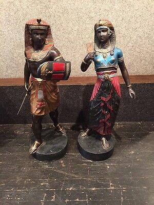 BRONZE: Pair of Large Multicolored Pristine Egyptian Figures