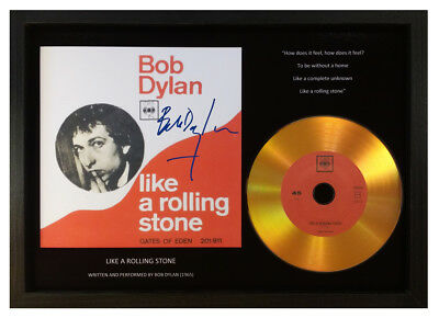 Bob Dylan - 'like A Rolling Stone' - Signed Photo Gold Cd Disc Memorabilia