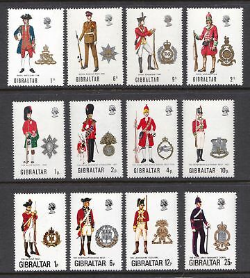 Gibraltar 1969 - 1976 Miltary Uniforms - 12 MNH values  - (52)