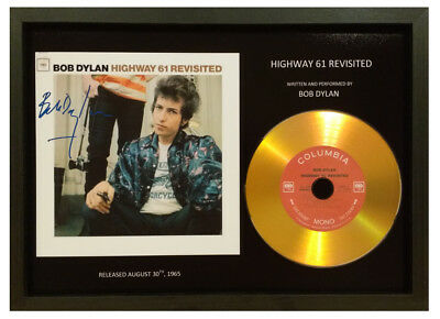 Bob Dylan - 'highway 61 Revisited' - Signed Photo With Gold Cd Disc Memorabilia