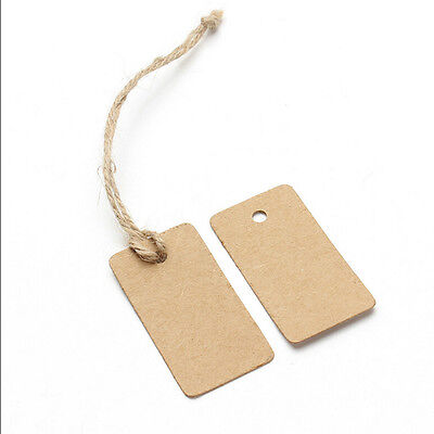 100x Kraft Paper Wedding Party Gift Card Rectangle Label Blank Luggage Tags FOUK