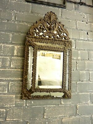 Antique French ornate bevelled brass mirror, vintage decorative wall mirror