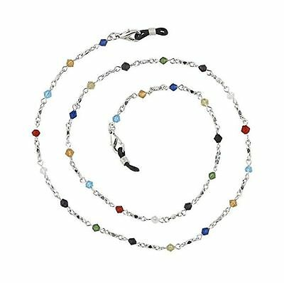 Beaded Glass Eyeglass Chain Holder Fashion Lanyard Necklace, Rainbow