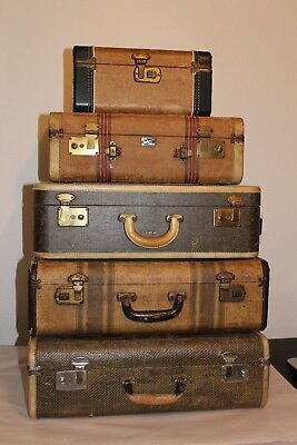 Wow! FIVE Antique Vintage Suitcases Luggage Stack Striped Tweed Train Case Set