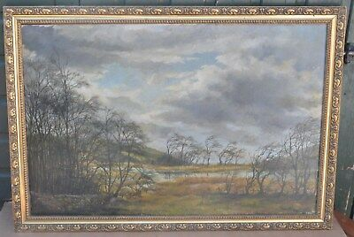 Large Gilt Framed Painting On Canvas Of Tree Landscape By Austin Price 69