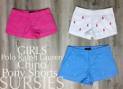 2cdaf830c3 POLO RALPH LAUREN SHORTS Girls Pony Cotton Chino Short Pink Blue White ALL  SIZES