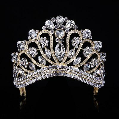 Gold Silver Crystal Rhinestone Royal Princess Wedding Bridal Pageant Prom Tiara