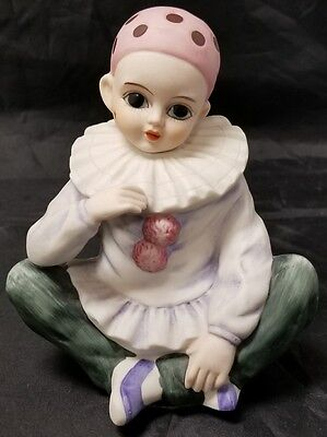 Mann Clown: Vintage Bisque Child Clown, Porcelain Rotating Music Box, 1980 Japan