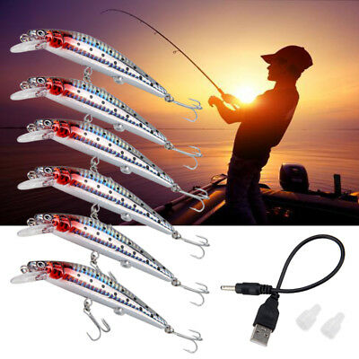 USB Twitching Fishing Lures LED Electric Vibrate Fish Lure Bait Hook
