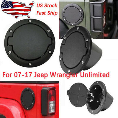 Black Fuel Filler Door Cover Gas Tank Cap 2/4 Door For 07-16 Jeep Wrangler JK Z