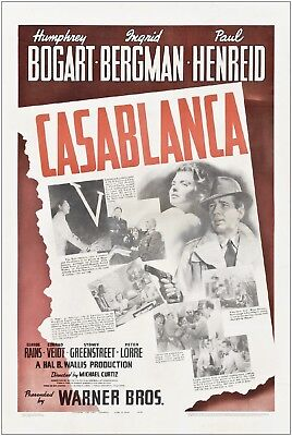 Casablanca Vintage Movie Large Poster Art Print A1 A2 A3 A4 Maxi