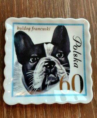 Doghaus french bulldog stamp Plate Ceramic   Tray polish stamp 4 x 4""